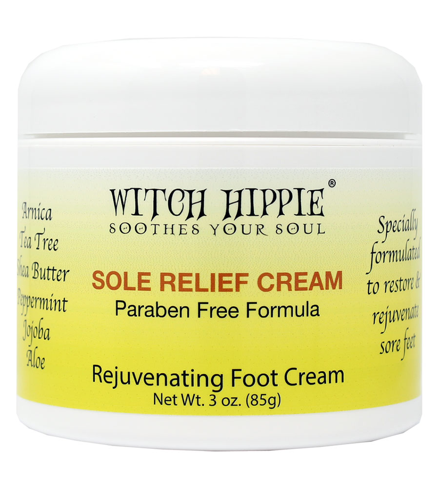 Witch Hippie Sole Relief Cream Plantar Fasciitis Relief Fast Acting Rejuvenating Foot Cream 3oz Jar, Softens Feet, Relieve Sore Feet Fast